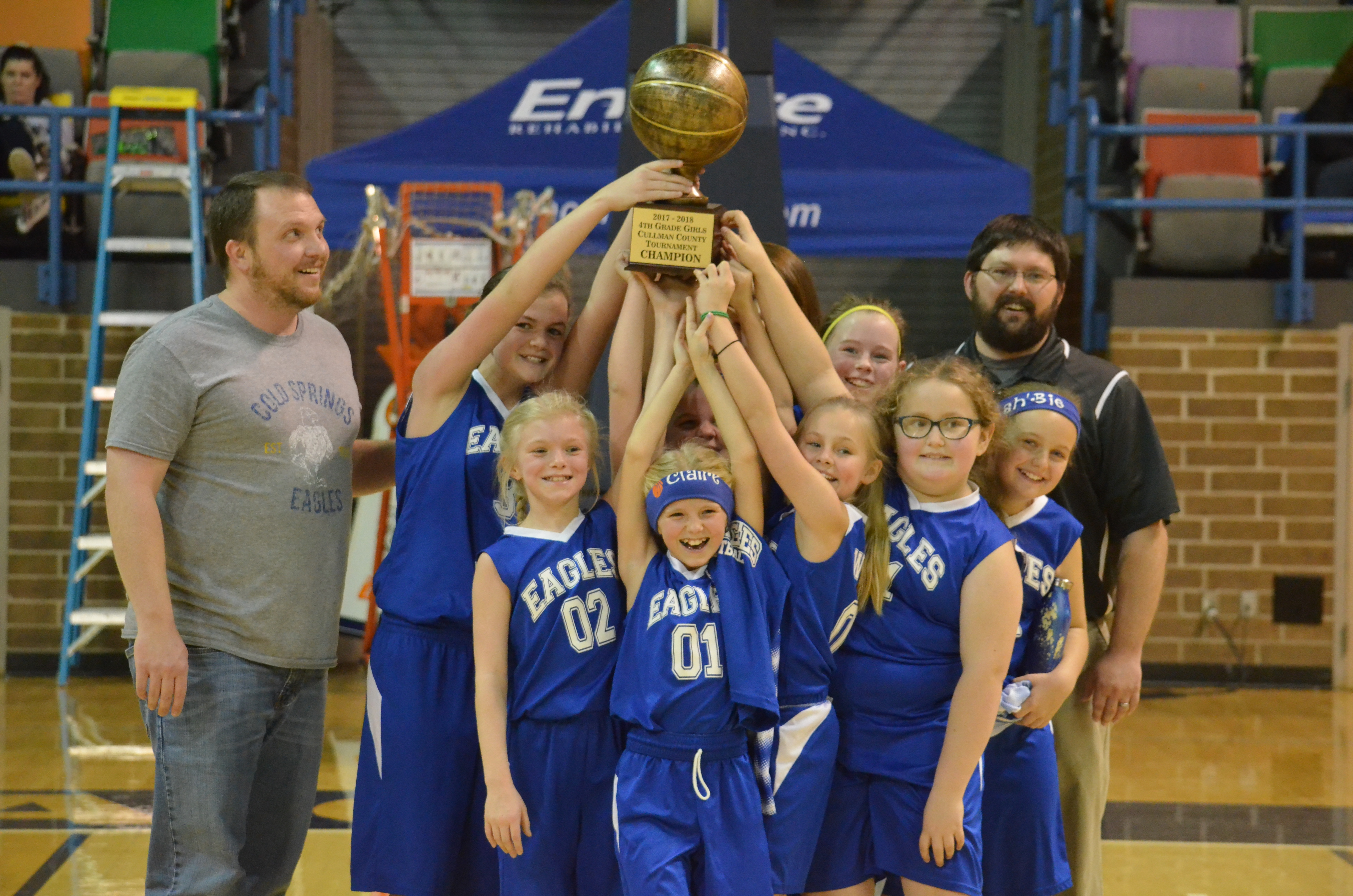 509ece111 The fourth-grade girls  team from Cold Springs shows off its trophy.