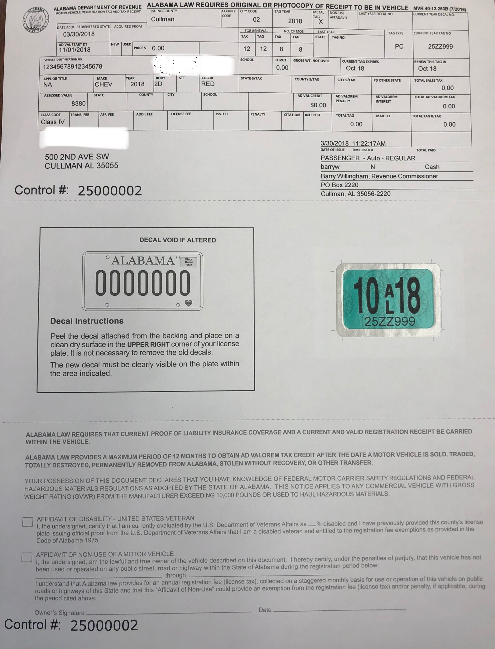 A look at the new car registration form which prints the decal sticker directly to paper saving tax dollars and helping to deter theft of car tags and