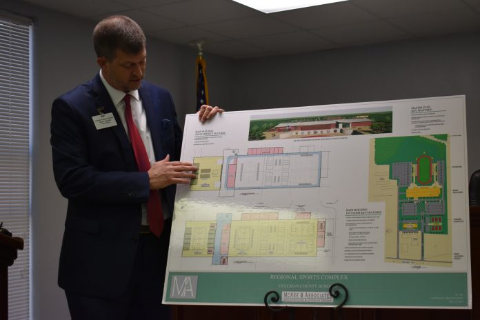 CCBOE Superintendent Shane Barnette explains the features of the proposed multi-use indoor complex.